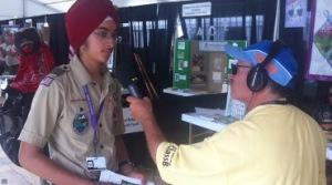 Karanveer Singh (Eagle Scout) being interviewed by a Radio host